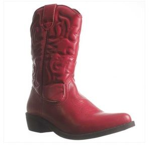 Rampage Western Boots, Red Distressed